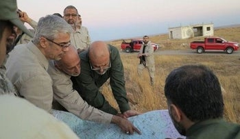 Iran's chief of staff Maj. Gen. Mohammad Bagheri and senior Iranian officers visit a front line in the northern province of Aleppo, Syria, October 20, 2017.