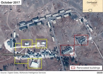 The reported Iranian compound in Al-Kiswa, with new structures completed, October, 2017.