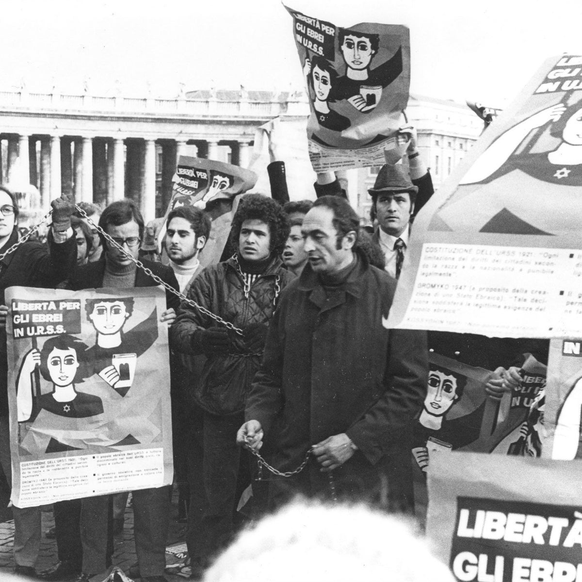 Moretto, center, in the early 1970s, chained with other protesters in front of the Vatican at a demonstration in support of Jews in the Soviet Union.