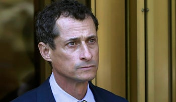 Former Congressman Anthony Weiner leaves federal court following his sentencing, New York, September 25, 2017.