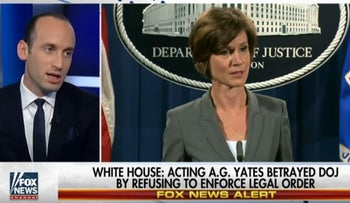 Stephen Miller discusses the firing of Sally Yates on Fox News.