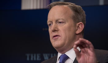 White House spokesman Sean Spicer speaks at the daily press briefing at the White House in Washington, D.C., January 30, 2017.