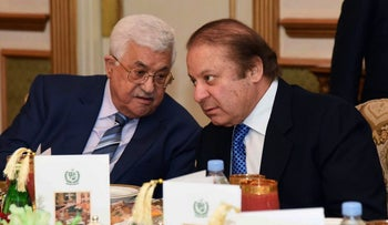 Palestinian President Mahmoud Abbas, whose Fatah party is running in local elections, meets in Islamabad with Pakistani Prime Minister Nawaz Sharif on January 31, 2017.