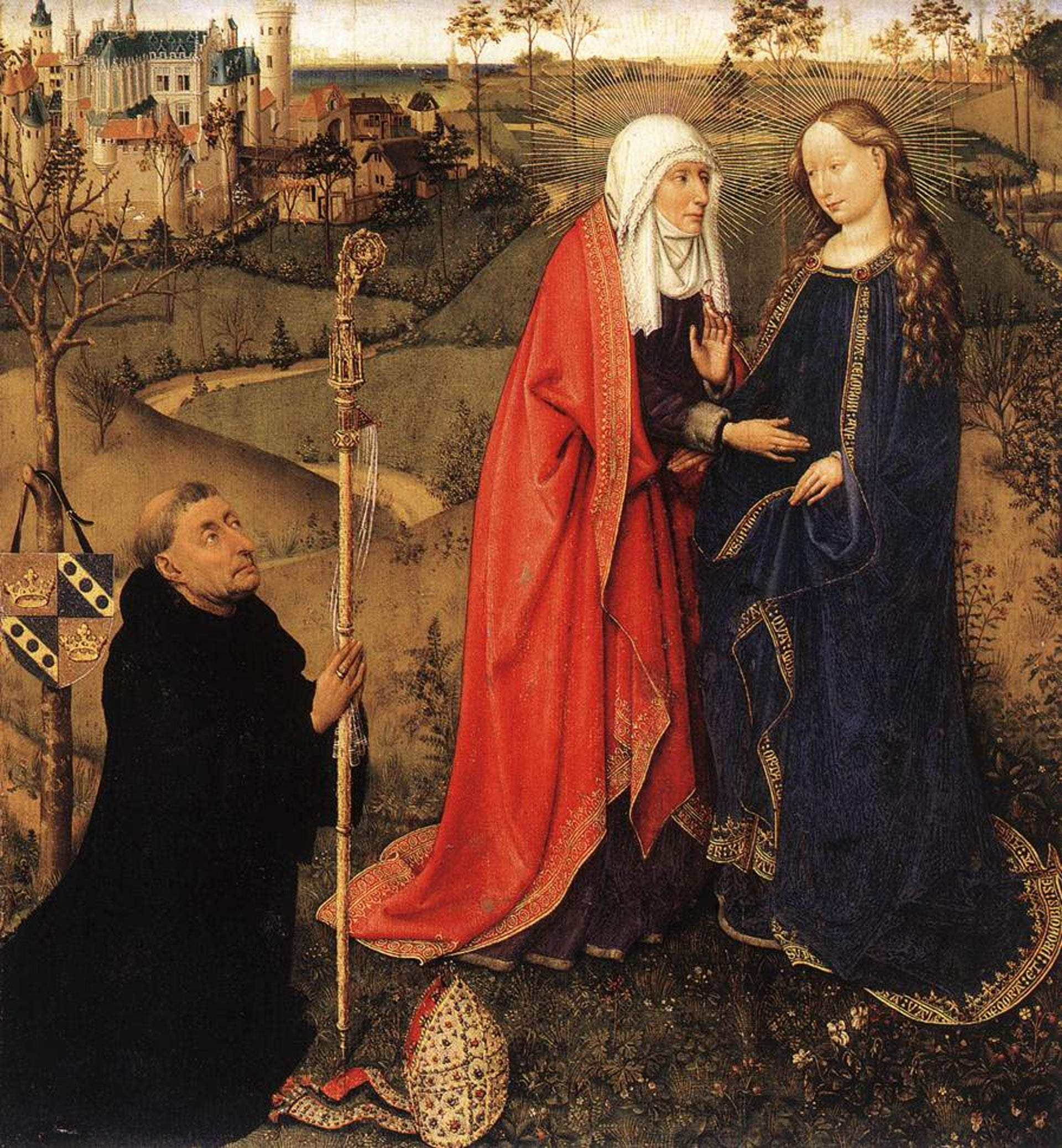 The Visitation, from Altarpiece of the Virgin by Jacques Daret, 1434-1435.