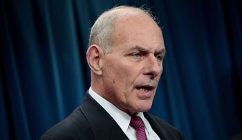 Secretary of Homeland Security John Kelly answers questions at a Washington press conference on January 31, 2017.