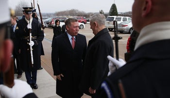 Secretary of Defense James Mattis (R) greets King Abdullah of Jordan (L) at the Pentagon in Arlington, Virginia, January 30, 2017.