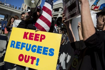 And then there were counter-protesters, outside Los Angeles International Airport demonstrating in favor of U.S. President Donald Trump's executive order blocking visitors from seven predominantly Muslim nations; in Los Angeles, California, U.S., on Sunday, Jan. 29, 2017.