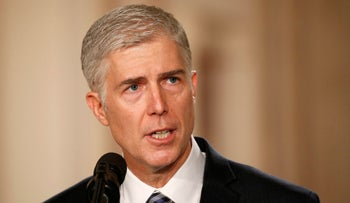 Neil Gorsuch speaks after U.S. President Donald Trump nominates him on January 31, 2017 to be an associate justice of the U.S. Supreme Court.