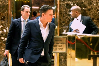Entrepreneur and investor Peter Thiel exits an elevator after a meeting at Trump Tower in New York,  November 16, 2016.