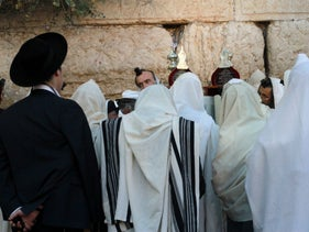 Ultra-Orthodox Jews praying at the Western Wall during a Jewish holy day, September 2016.