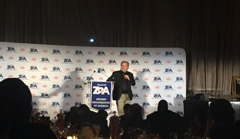 Steven Bannon delivered an address at the Zionist Organization of America's annual awards dinner in New York on November 12, 2017.