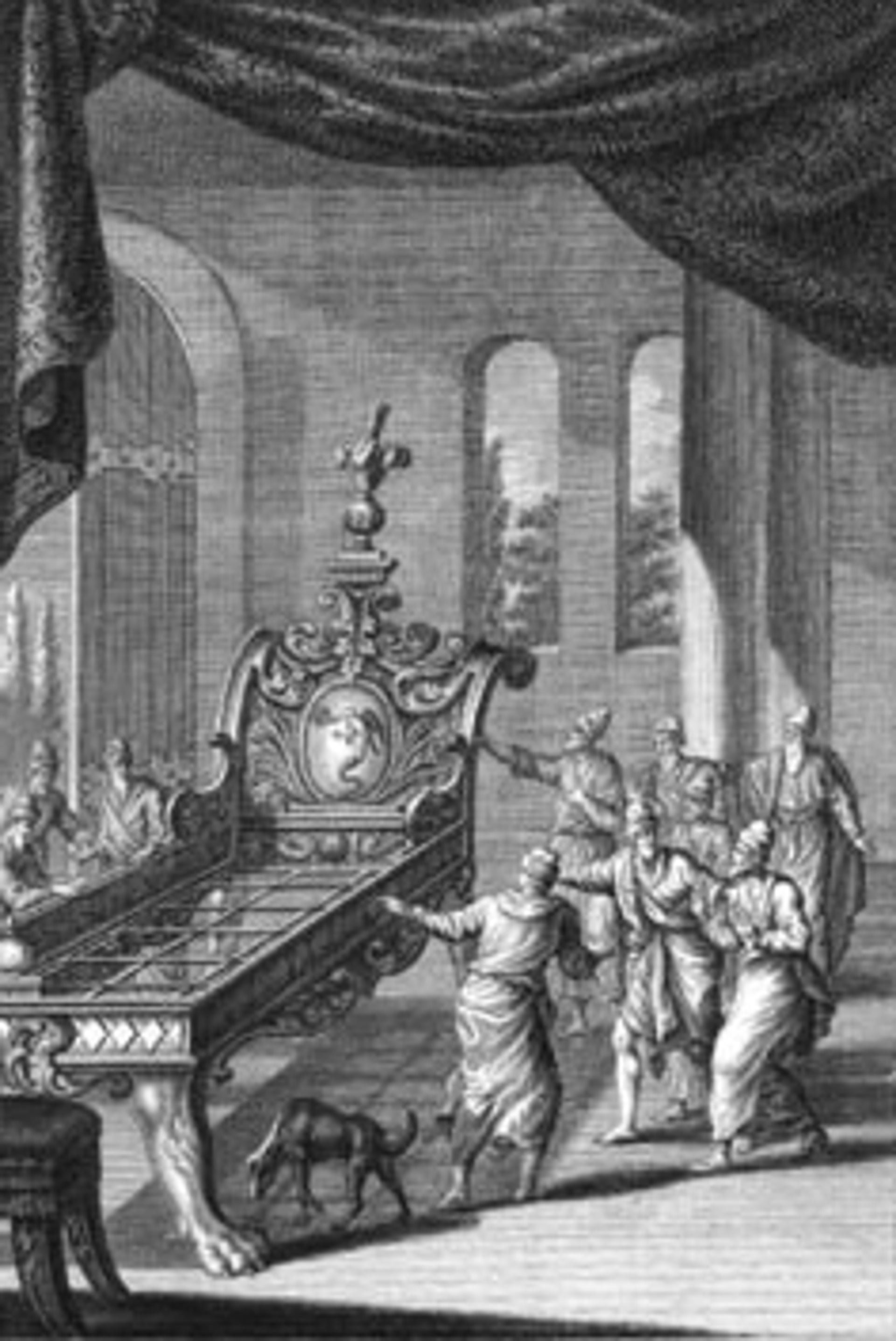 Bed of Og, King of Bashan, an Amorite. (engraving circa 1770 by Johann Balthasar Probst)