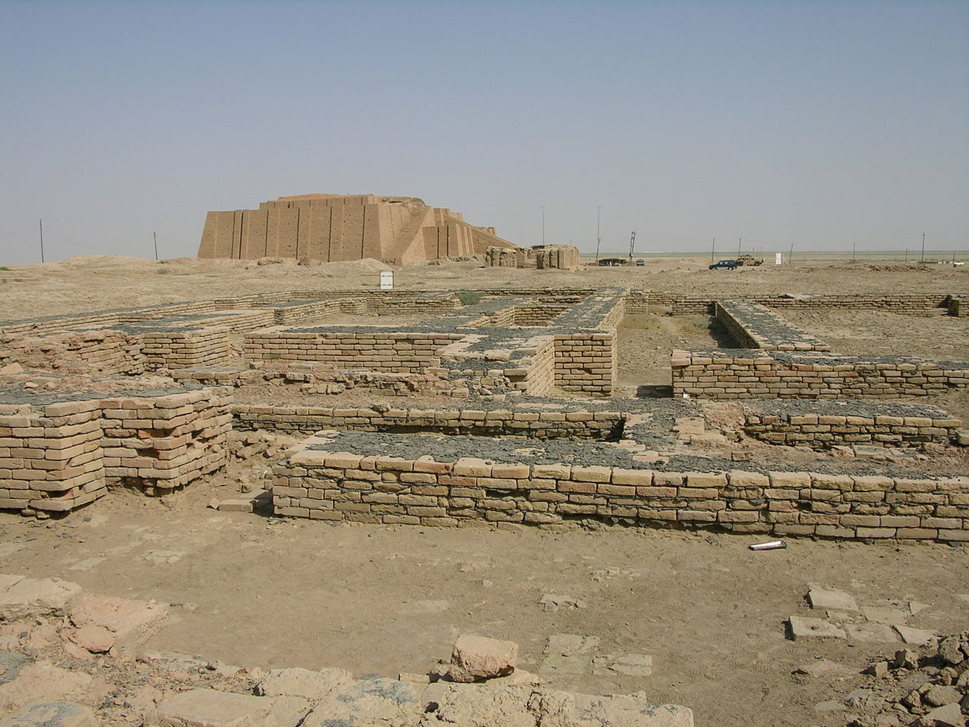 The ruins of Ur, with the Ziggurat of Ur visible in the background.