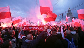 Protesters during a rally, organized by far-right, nationalist groups in Warsaw, Poland November 11, 2017