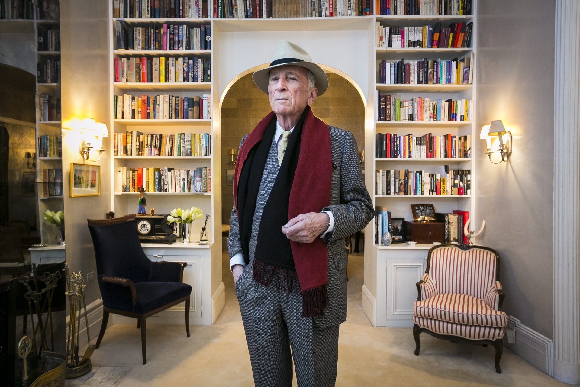 Gay Talese poses for a portrait at his home in Midtown Manhattan, December 13, 2016.