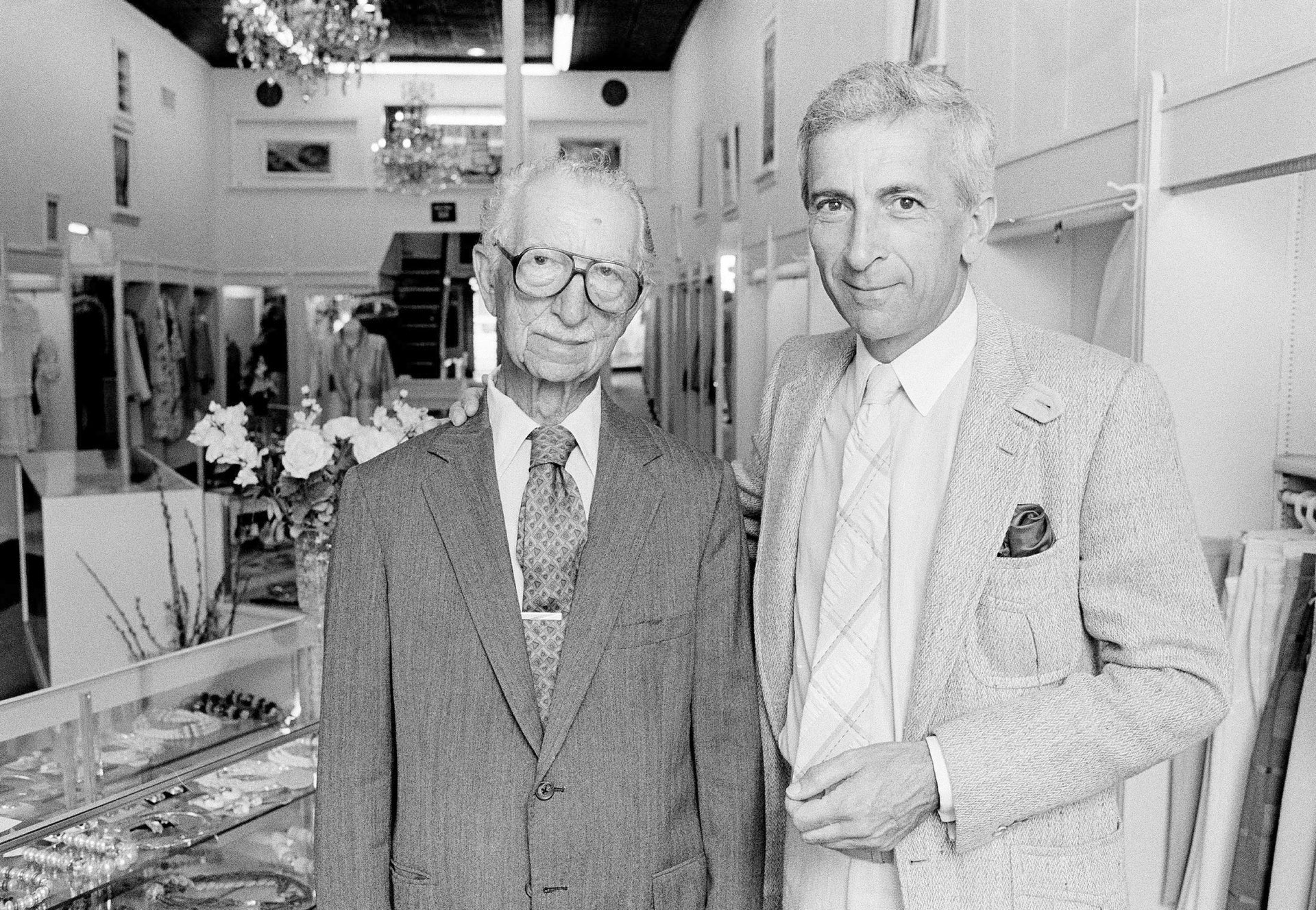 Author Gay Talese poses with his father, Joseph Talese, at his father's dress shop in Ocean City, N.J., in May 1986.