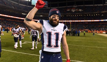 New England Patriots wide receiver Julian Edelman celebrating a win over the Denver Broncos, December 2016.