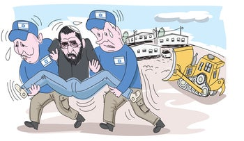Illustration: Netanyahu and Bennett in the role of police evacuating the West Bank settlement of Amona.