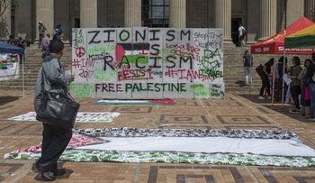 Student stage a protest against Zionism and Israel's policies during Israel Apartheid Week 2017 at Witwatersrand University in Johannesburg, South Africa on March 8, 2017.