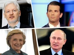 Clockwise from top left: Julian Assange, Donald Trump Jr. Hillary Clinton and Vladimir Putin.