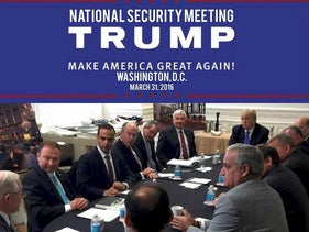 George Papadopoulos (3rd L) appears in a photograph released on Donald Trump's social media accounts with a headline stating that the scene was of his campaign's national security meeting in Washington, D.C. U.S. on March 31, 2016 and published April 1, 2016.