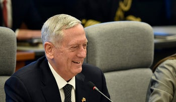 General James Mattis, U.S. secretary of defense, left, reacts during a meeting with Tomomi Inada, Japan's defense minister, not pictured, at the defense ministry in Tokyo, Japan, on Saturday, Feb. 4, 2017.