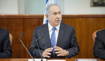 Prime Minister Benjamin Netanyahu at the weekly cabinet meeting on Sunday, May 8, 2016.