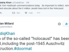 A screenshot of a response on Twitter to London mayor Sadiq Khan's tweet about commemorating the Holocaust, May 8, 2016.