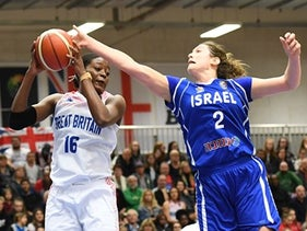 Israel playing Britain in a qualifying match for the EuroBasket 2019 games. The Israeli center Dannielle Diamant, standing 6 feet 4 inches, scored 17 points and had five assists.