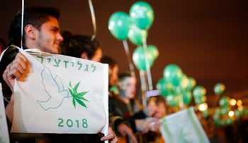 'Legalization 2018': Israelis demonstrate for legalization of marijuana in Tel Aviv on Saturday night, February 4, 2017.
