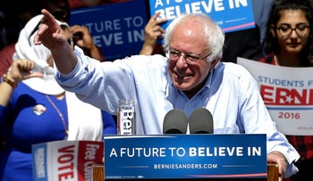 Democratic presidential candidate Sen. Bernie Sanders speaks at a campaign rally in California on Tuesday, May 10, 2016.