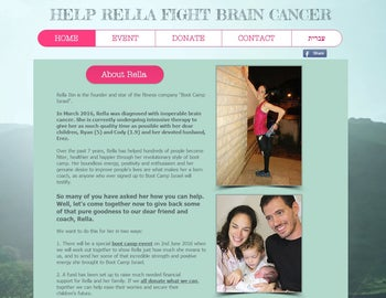 A screenshot of the crowdfunding campaign for Rella Itin, an Israeli-Australian fitness instructor diagnosed with inoperable brain cancer.