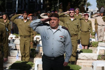 IDF Chief of Staff Gadi Eisenkot at official Memorial Day ceremony on Mount Herzl. May 10, 2016.