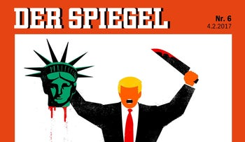 U.S. President Donald Trump depicted beheading the Statue of Liberty in this illustration on the cover of German news magazine Der Spiegel.