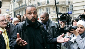 Controversial French comic Dieudonne M'Bala M'Bala,  answers reporters ahead of European elections, Paris, France, May 13, 2009.