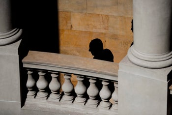 Prime Minister Benjamin Netanyahu is silhouetted against a facade of San Martin Palace at the Argentine foreign ministry in Buenos Aires, Argentina, September 2017.