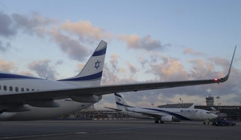 El Al planes parked at Ben-Gurion International Airport, Tel Aviv.