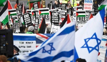 Rival demonstrators rally as Prime Minister Benjamin Netanyahu visits British Prime Minister Theresa May at Downing Street in London, February 6, 2017.