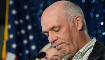 File photo: Republican Greg Gianforte speaks to supporters after winning Montana's open congressional seat on May 25, 2017.