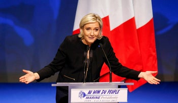 Marine Le Pen, French National Front (FN) political party leader and candidate for the French 2017 presidential election in Lyon, France February 5, 2017.