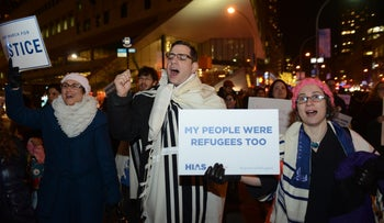 Rabbis protest Trump's travel ban across from Trump Tower in Manhattan, New York City, February 6, 2017.