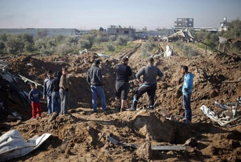 A crater in Gaza after an Israeli response to rocket fire, February 6, 2017.
