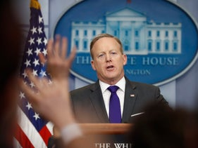 White House press secretary Sean Spicer speaks during the daily news briefing at the White House in Washington, Tuesday, Feb. 7, 2017. Spicer discussed President Donald Trump's travel ban and other topics.