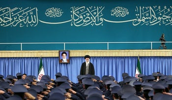 Iran's Supreme Leader Ayatollah Ali Khamenei arrives to deliver a speech in a meeting with military commanders in Tehran, Iran, February 7, 2017.