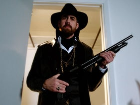 "Actor Adam Goldberg in the 2017 promo for the sequel to ""The Hebrew Hammer"" (2003). The new version is titled ""The Hebrew Hammer Vs. Hitler."""