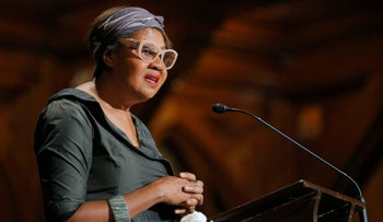 Author Jamaica Kincaid presents a posthumous W.E.B. Du Bois Medal for poet Maya Angelou at the Hutchins Center Honors at Harvard University in Cambridge, Masachusetts September 30, 2014.