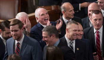 Republican members of the House of Representatives gather in the House Chamber on Capitol Hill as the 115th Congress convened in Washington, January 3, 2017.