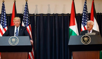 Trump and Abbas in the West Bank city of Bethlehem, May 23, 2017.