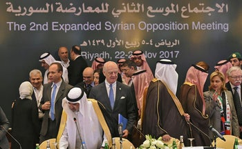 UN special envoy for Syria crisis Staffan de Mistura (C) attends the Syrian opposition meeting in Riyadh, on November 22, 2017