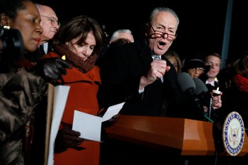 Senate Minority Leader Chuck Schumer (D-N.Y.) speaks during a rally against President Donald Trump's travel ban outside the Supreme Court in Washington, January 30, 2017.